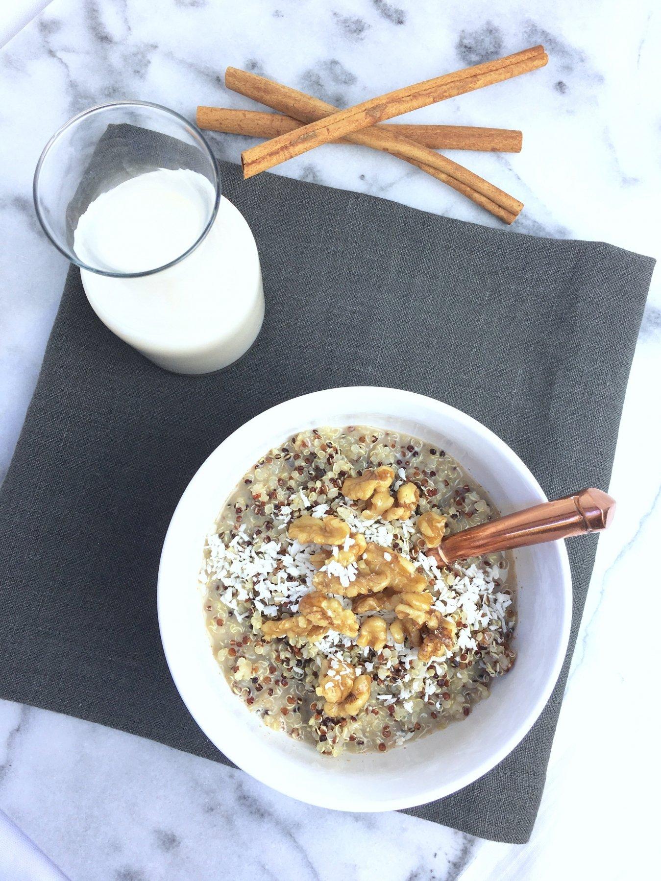 Candied Walnut Quinoa w: Vanilla Spiced Almond Milk