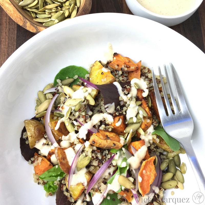 Quinoa Tahini Salad w/ Roasted Veggies