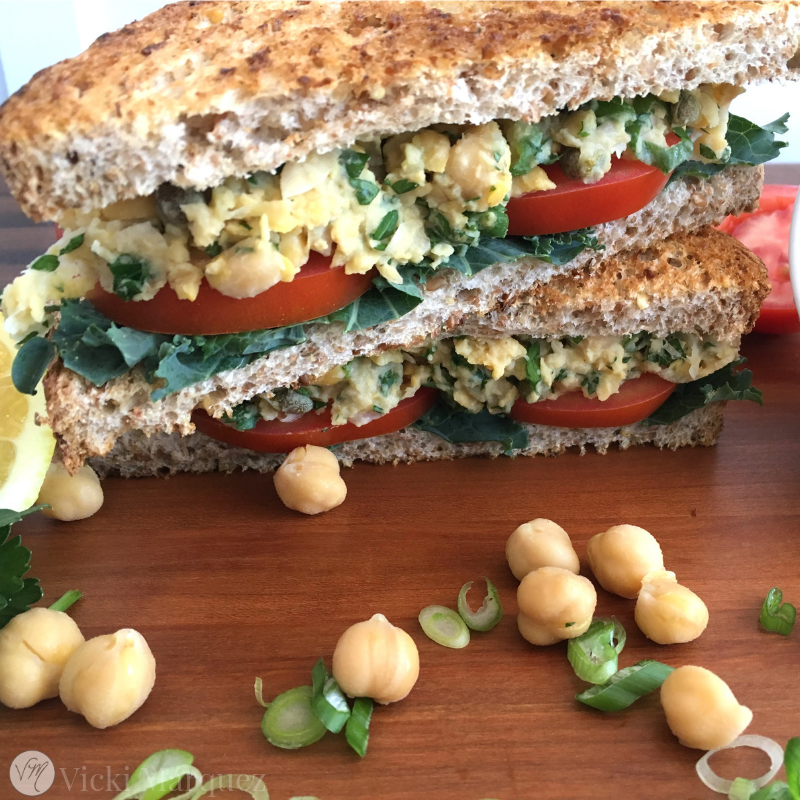 Chickpea Salad Sammy with Lemon and Herbs VM3