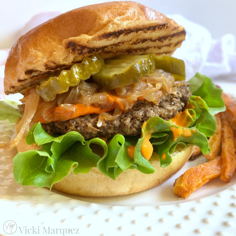 Portobello Lentil Burger w/ Caramelized Onion & Roasted Red Pepper Aioli