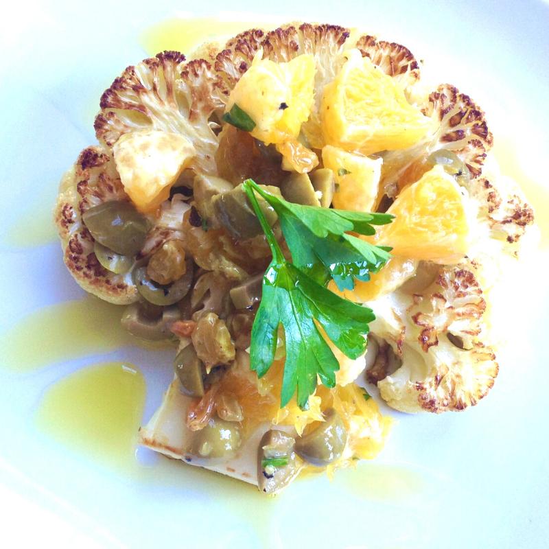 Cauliflower Steaks w Orange Relish